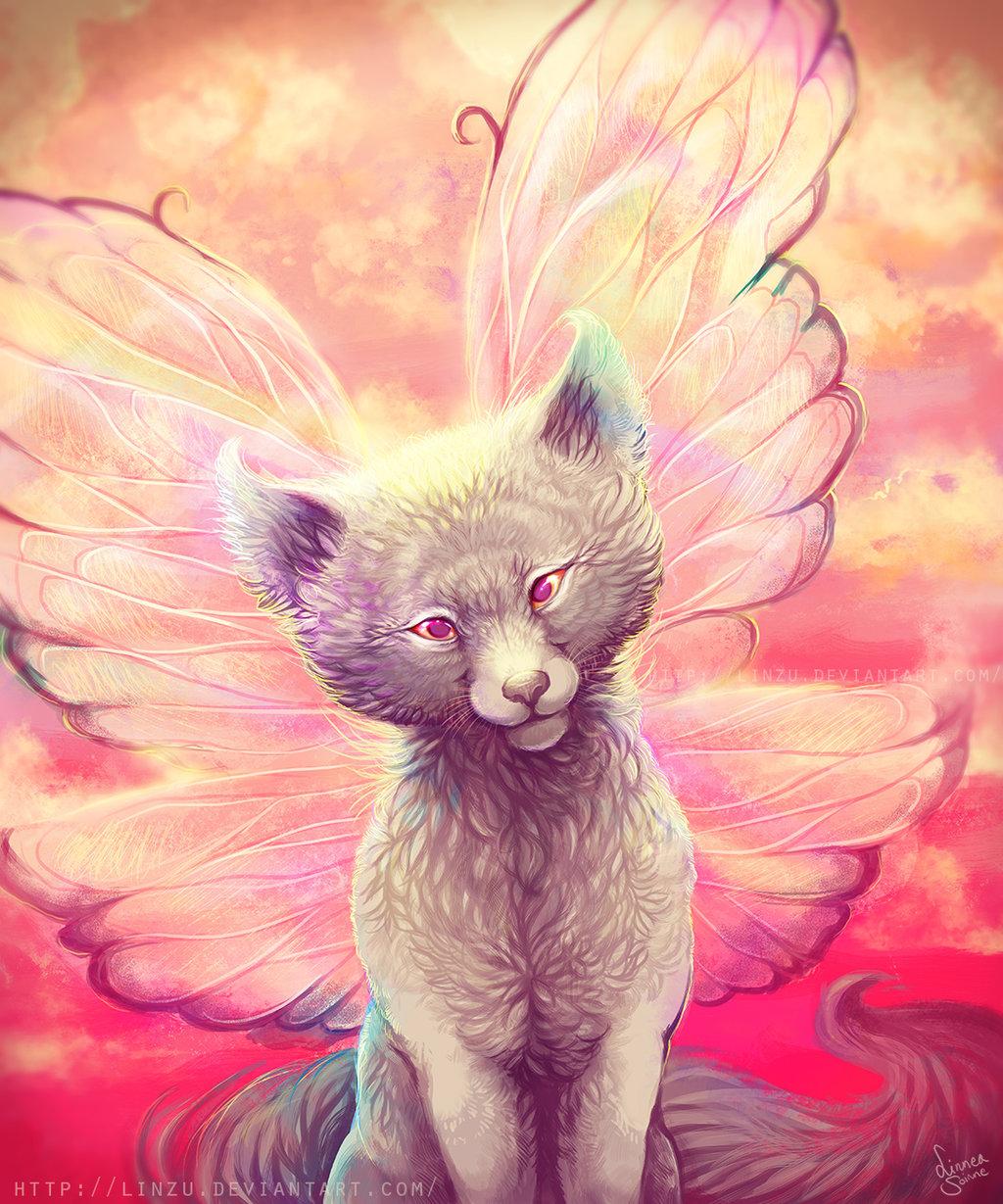 Фото Серый волчонок с крыльями на спине, художница linzu