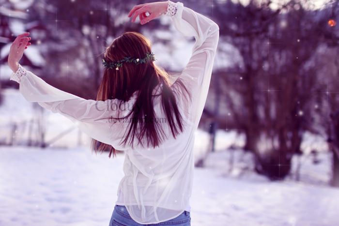Зимние фото с девушками со спины