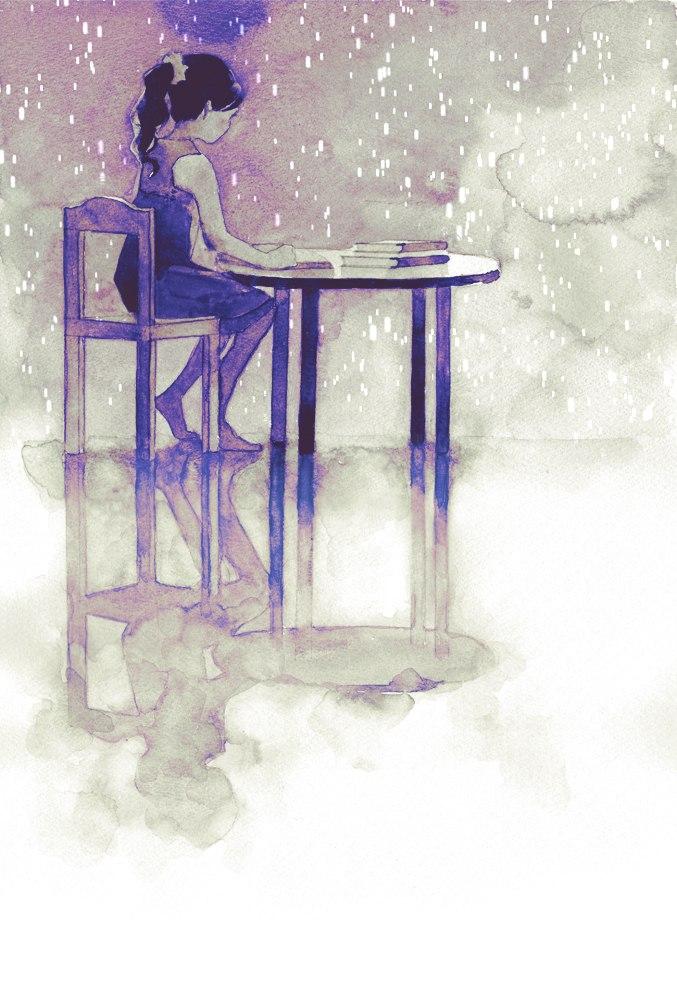 Фото Девочка сидит за столом и читает книгу, на фоне ...: http://photo.99px.ru/photos/135195/