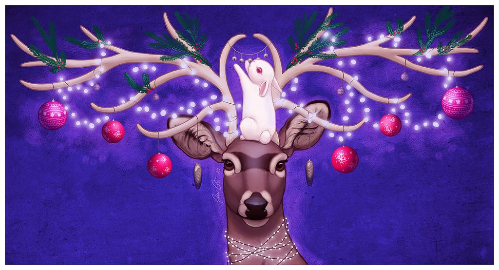 Фото Белый кролик наряжает рога оленя новогодними игрушками и гирляндами, художник kippurable