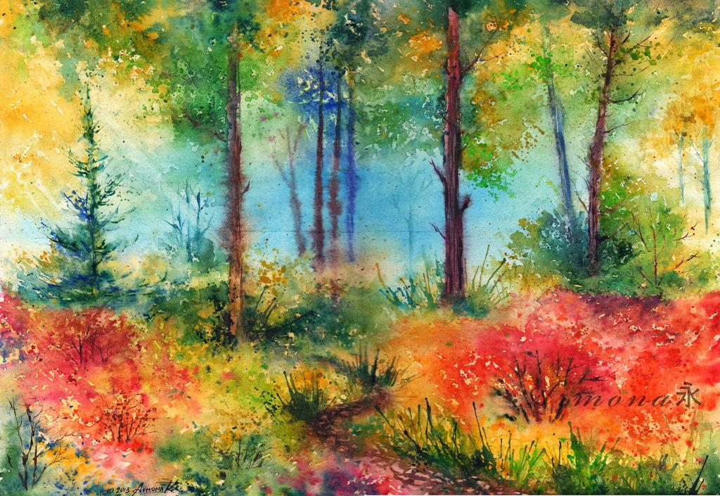 модели рисунок лесная поляна красками алтаю возвратом