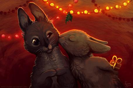 Фото Кролик целует другого кролика, спрятав за спиной новогодний подарок, художница linzu