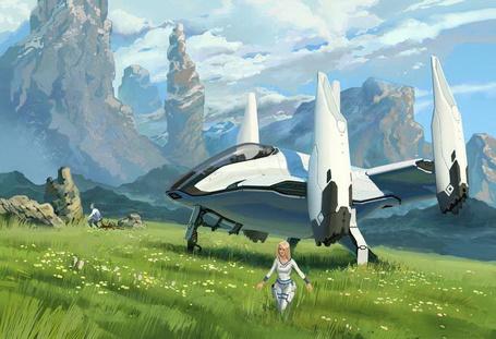 Фото Звездолет, прилетевший с другой планеты приземлился на зеленой лужайке меж высоких гор, девушка в летном снаряжении прогуливается по зеленой поляне среди цветов, невдалеке на камне сидит второй пилот