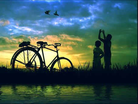 Фото Мужчина и мальчик смотрят на птиц в небе, стоя на берегу водоема, рядом стоит велосипед, фотограф Tri Joko