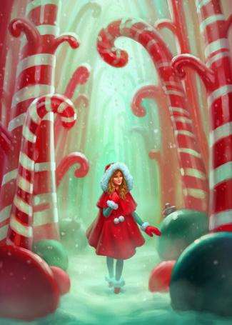 Фото Девушка в красном пальто идет по дороге между больших леденцов и елочных игрушек, художник atomhawk