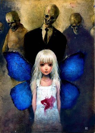 Фото Светловолосая девочка с крыльями бабочки за спиной, с пятном крови на платье, за спиной которой стоят трое мужчин, с черепами вместо лиц, art by onmyous (H. W.)
