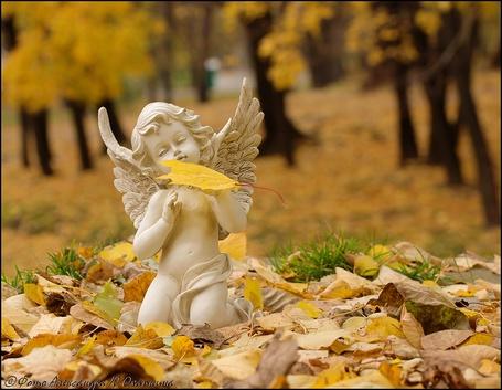 Фото Скульптура девочки - ангела на фоне осенних листьев, фотограф А. Ю. Охапкин