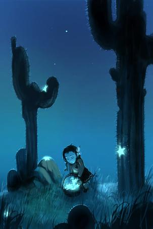 Фото Девочка среди больших кактусов, собирает в корзину светящиеся звезды, художник AquaSixio