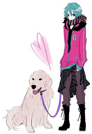 Фото Vocaloid Hatsune Mikuo / Вокалоид Хацуне Микуо в мужском облике с собакой