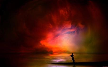 Фото Девушка со скрипкой cтоит на фоне закате, фотохудожник Igor Zenin / Игорь Зенин
