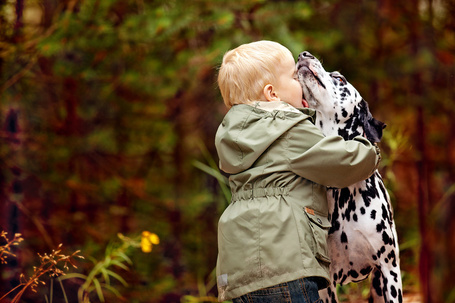 Фото Белокурый мальчик в ветровке нежно обнял и прижал к себе своего любимца-долматинца
