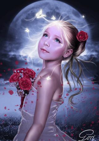 Фото Девочка с розой в волосах, держащая в руках небольшой букетик таких же цветов, стоящая на берегу моря и появившейся в небе планеты, над ней кружат белые бабочки, автор GORI89