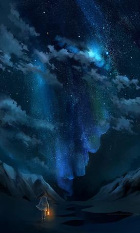Фото Девочка с горящим фонарем, идет среди гор на фоне звездного ночного неба и Млечного пути, работа after nature / после природы. автор megatruh