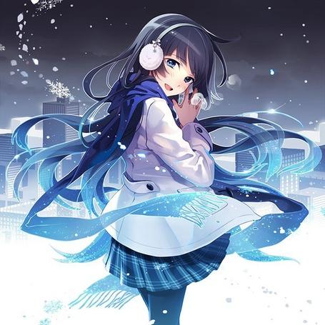 Фото Девушка с длинными темными волосами в белом плаще и в наушниках, кружится вокруг снега на фоне города, Художник Nikeneko