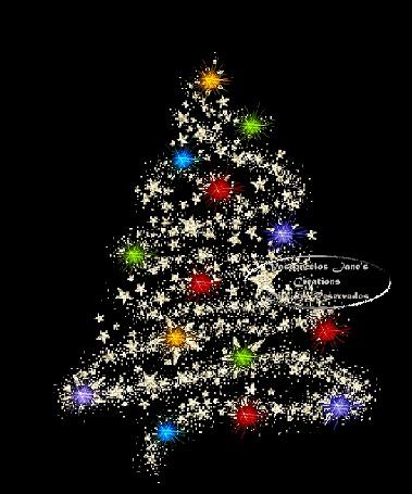 Фото Новогодняя елка из звезд в разноцветных огнях