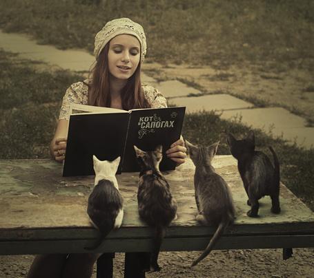 Фото Девушка в белой, вязанной шапочке посадила котят на обшарпанный, деревянный стол и читает им книгу Кот в сапогах