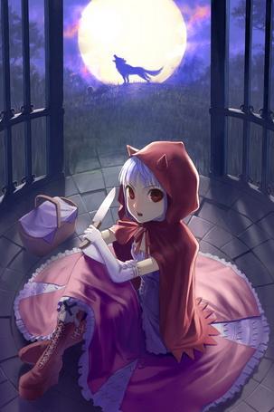 Фото Девочка в красном плаще с капюшоном с рожками держит нож в руке, сидя на каменном полу беседки, на фоне полной луны, на котрую воет волк