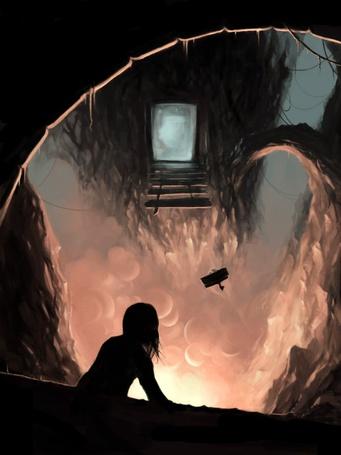 Фото Девушка смотрит на летящий самолет из своего таинственного укрытия, художник - иллюстратор Cyril Rolando