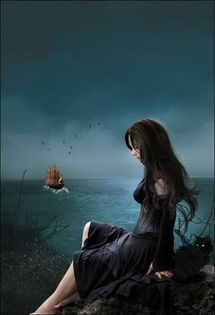 Фото Грустная, черноволосая девушка, сидящая на камне на морском побережье, проводила любимого человека, уплывшего на парусном фрегате на фоне пасмурного неба, парящих птиц, рядом с девушкой сидит черный кот