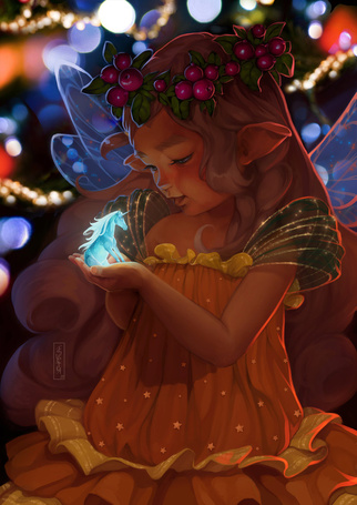 Фото Девочка-эльф держит в руках маленького светящегося единорога, художница Svetlana Tigai
