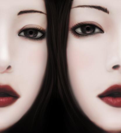Фото Две темноволосых девушки с красными губами