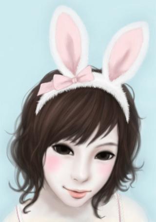 Фото Девушка с ободком с кроличьими ушками на голове