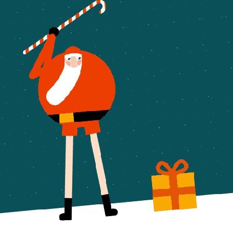 Фото Санта Клаус отправляет подарки и эльфов в полет