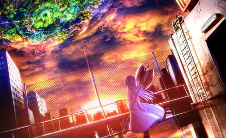 Фото Девушка с оружием в руке колдует, стоя на фоне закатного неба, art by Ryosios