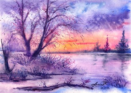Фото Дерево около берега озера на фоне закатного фиолетового неба, художник AnnaArmona