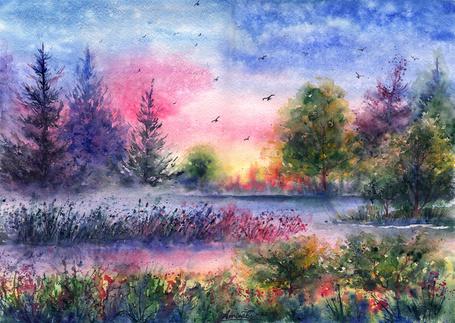 Фото Речка с кусочками суши, на которых растут разные кустарники, на фоне деревьев и закатного неба, художник AnnaArmona