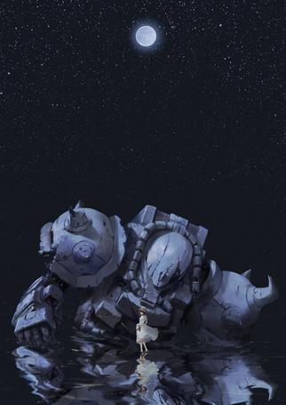Фото Девушка стоит в воде на фоне ночного неба, рядом в воде стоит робот, арт по аниме Мобильный воин ГАНДАМ / Mobile Suit Gundam