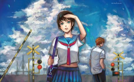 Фото Девушка в школьной форме и парень на фоне, облачного неба, art by mirukawa