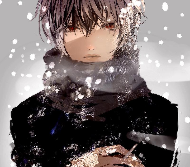 Фото аниме парня в капюшоне и в шарфе