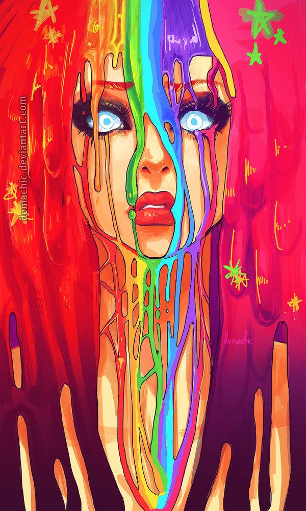 С краской на лице художница demachic