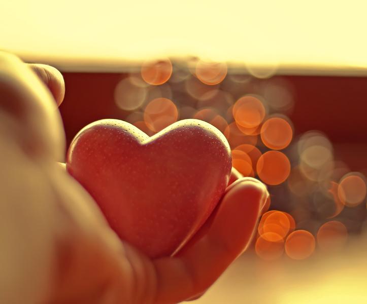 Фото Человек держит в руке каменное сердечко