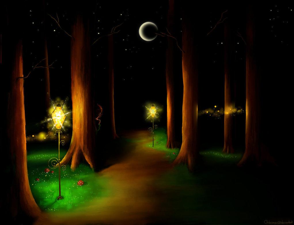 Ночной лес рисунок предполагал, что