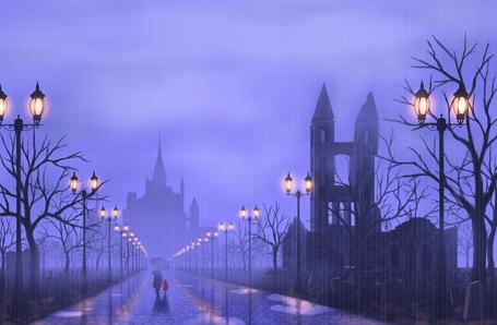 Фото Мужчина и девочка, прячась под зонтом от дождя, идут по дороге, освещенной фонарями, к замку, окутанному туманом, art by nauimusuka