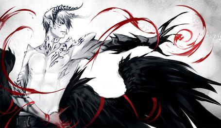 Фото Демон с черными крыльями за спиной и татуировками на теле колдует, art by yaichino (artist)