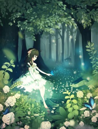 Фото Девушка в белом платье с бабочкой на руке сидит на фоне леса, автор longestdistance