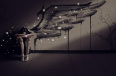 Фото Девушка сидит у стены где нарисовано крыло ангела, вокруг нее летают бабочки, художник ayyasap