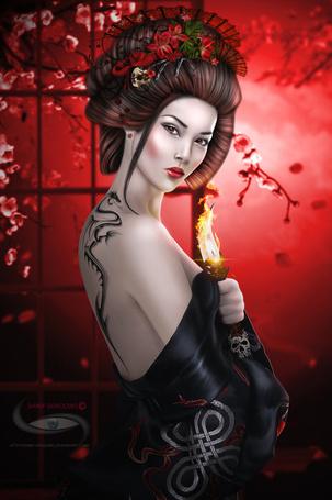 Фото Девушка - китаянка держит в руке горящий кинжал, фотоарт shiny-shadows