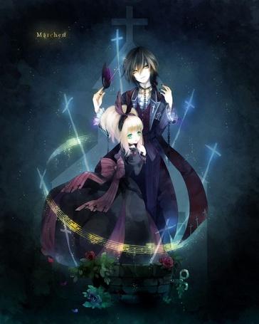 Фото Черноволосый парень и девушка-блондинка стоят в окружении магии, образующей кольцо, из которой выходят крестообразные лучи, и цветов, арт мангаки Mдrchen