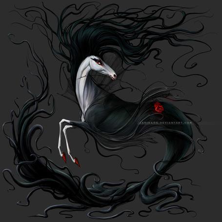Фото Черная лошадь с длинной гривой и хвостом, художник Lenika86
