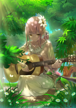 Фото Девушка в лесу играет на гитаре