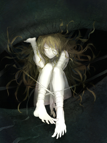 Фото Девушка в бинтах сидит в чьем-то глазу, art by ura jo (artist)