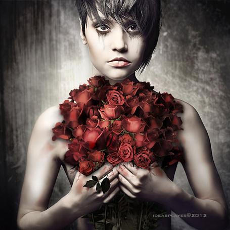 Фото Девушка с букетом роз (© zmeiy), добавлено: 20.01.2014 23:58