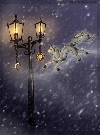 Фото Волк бежит по небу к горящему фонарю, на котором висят солнце и луна, художник BlackDemon-Rock