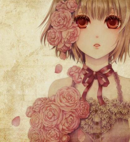 Фото Девушка со светлыми волосами и красными глазами, с розовыми розами на голове смотрит вперед