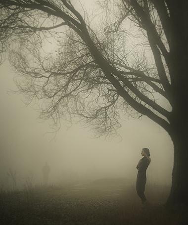 Фото Девушка стоит под деревом у дороги, вдалеке виден силуэт, уходящего человека, фотограф Давид Д