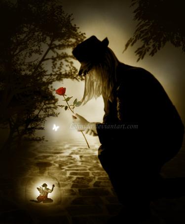 Фото Парень с розой в руке сидит перед девушкой -ангелом, работа His lady / Его Леди, автор lihnida